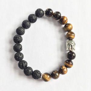 Lavarock & Tigers Eye Buddha Bracelet